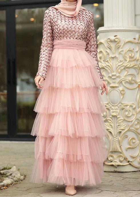 Pink Sequin & Tulle Layered Gown