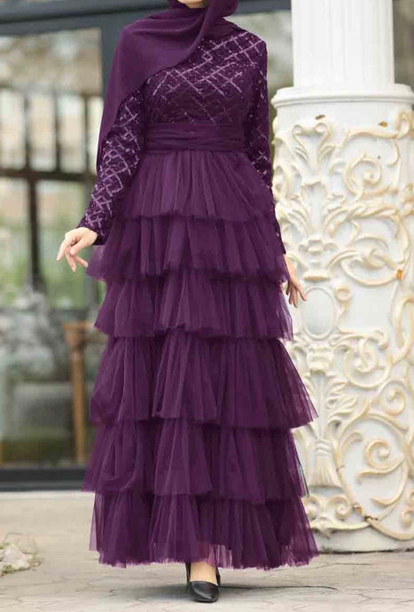 Plum Sequin & Tulle Layered Gown