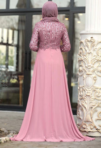 Mauve Sequin Chiffon Train Gown
