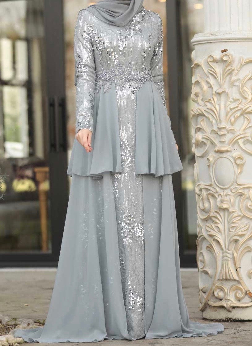 Grey Sequin Layered trail Gown