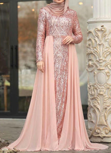 Peach Chiffon Train Gown