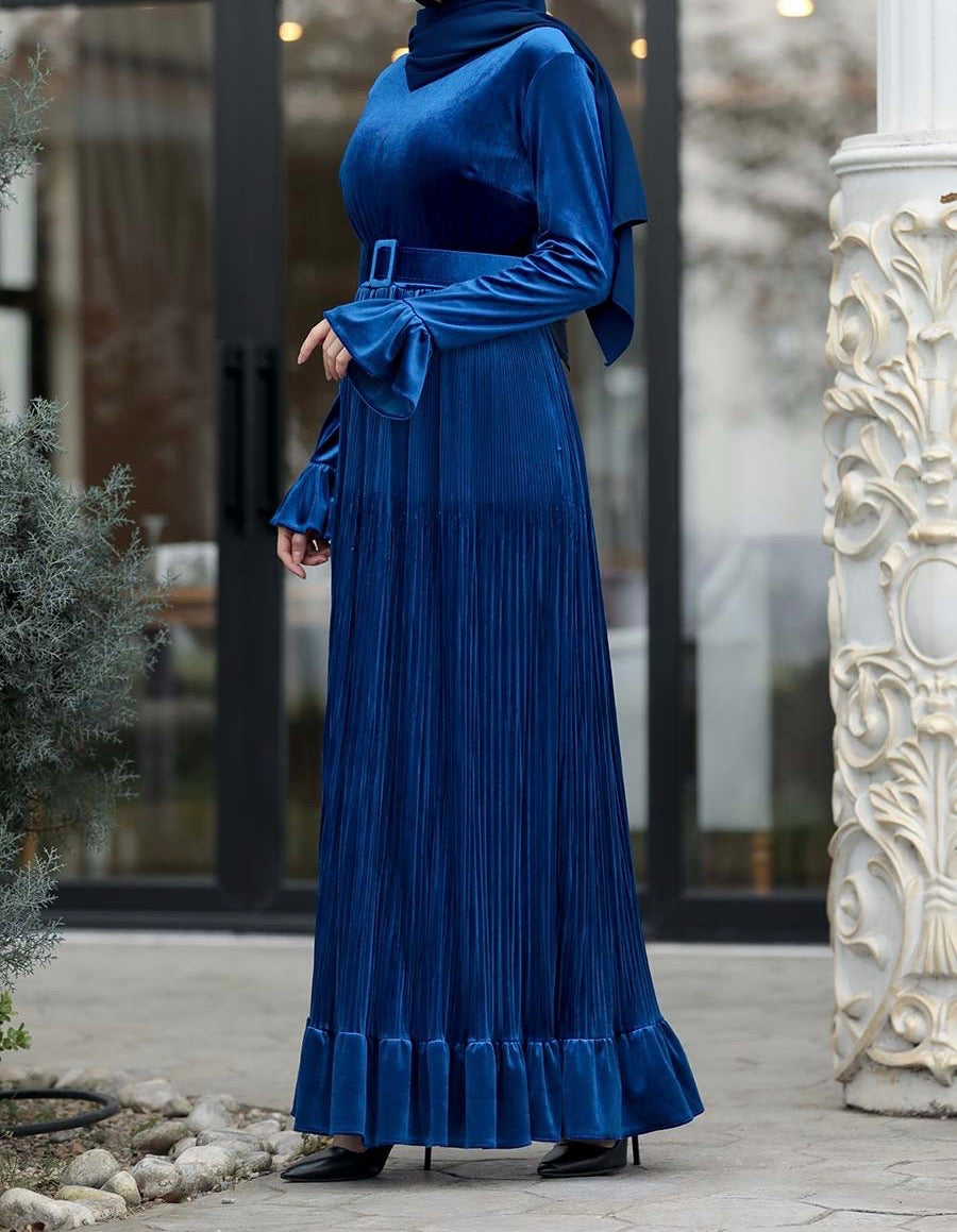 Royal Blue Velvet Dress