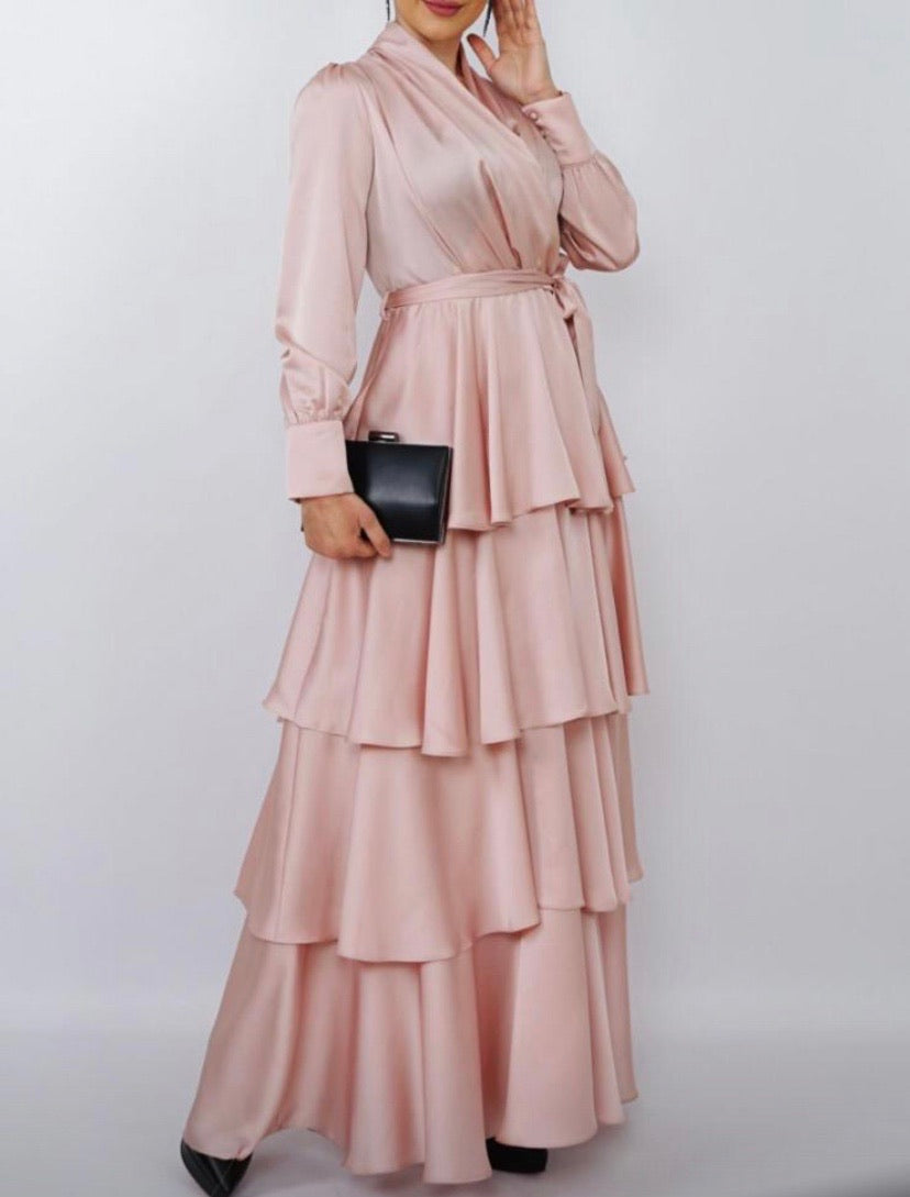 Pink Satin Layered Gown
