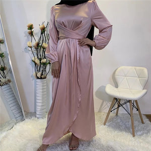wrap front satin full sleeve mmosewg maxi dress