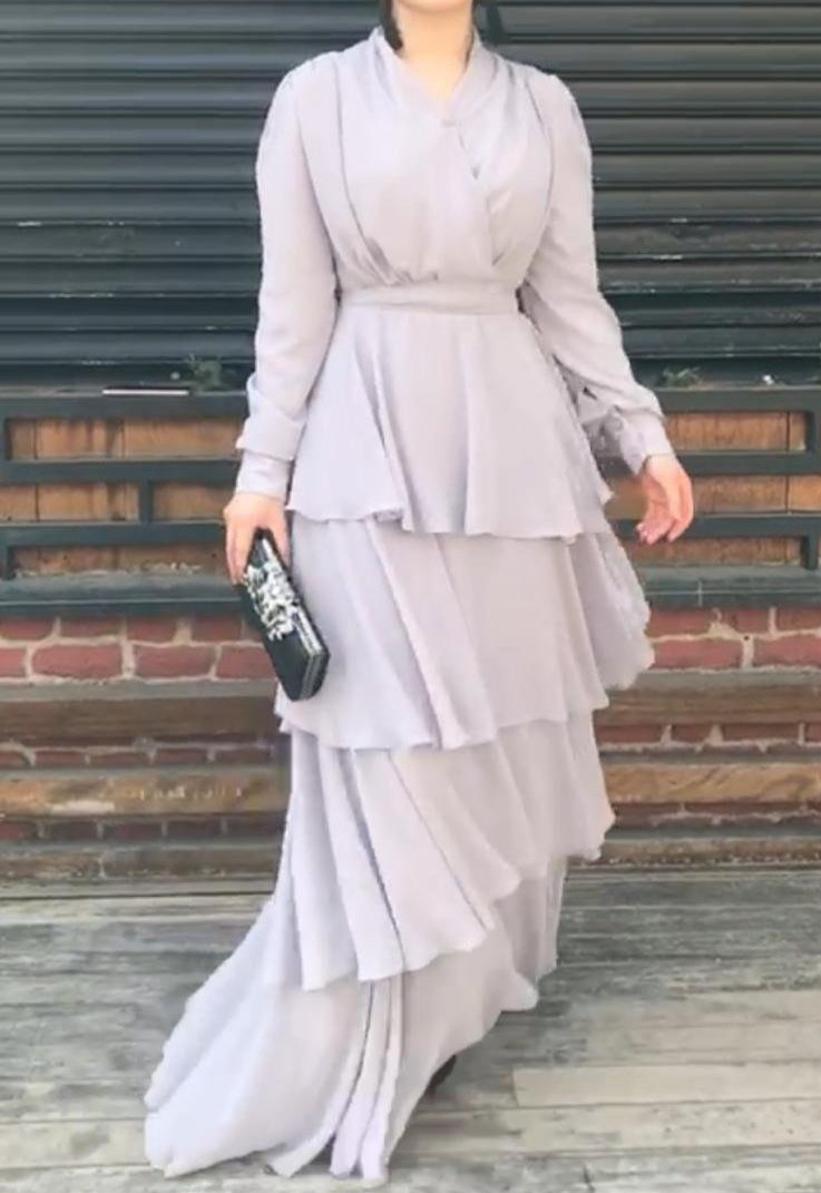 Light Grey Layered Gown