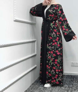 Red Floral Abaya