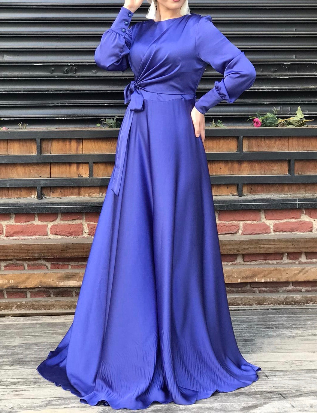 Royal Blue Satin Side Tie Gown