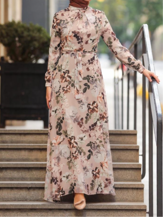 floral long sleeve fully lined modest floral chiffon maxi dress, Eid