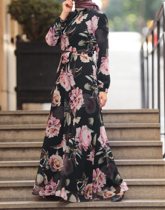black floral chiffon, long sleeve modest dress