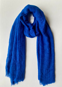 Cobalt Blue Cotton Crinkle Hijab