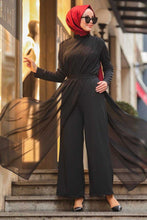 Black Jumpsuit with Chiffon Layer