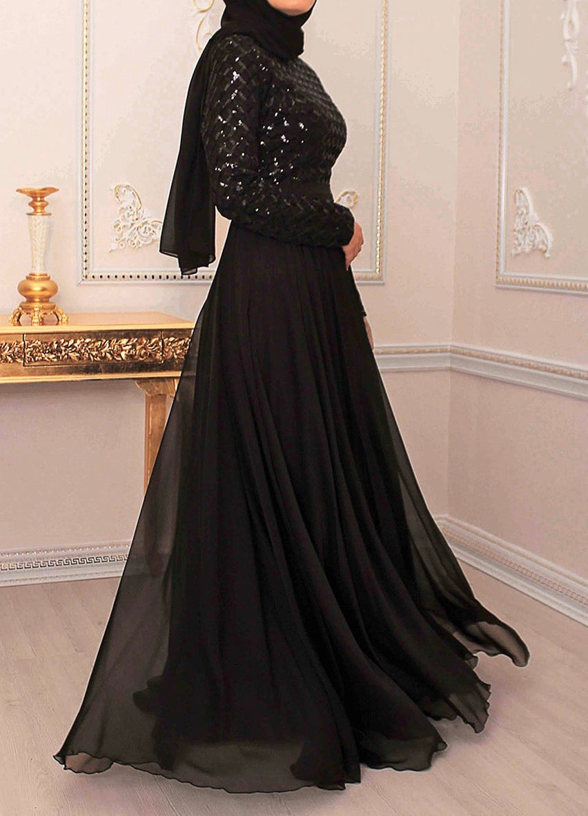 Black Sequin Detail Gown