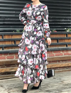 floral layered long sleeve fully lined modest maxi dress