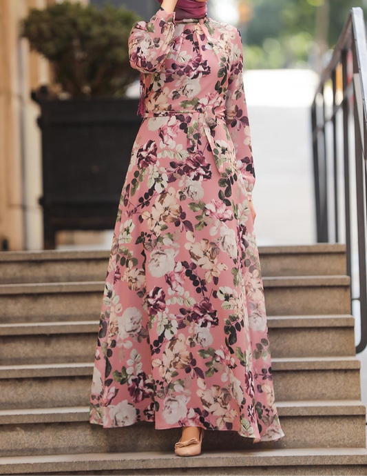 pink floral long sleeve fully lined modest maxi dress