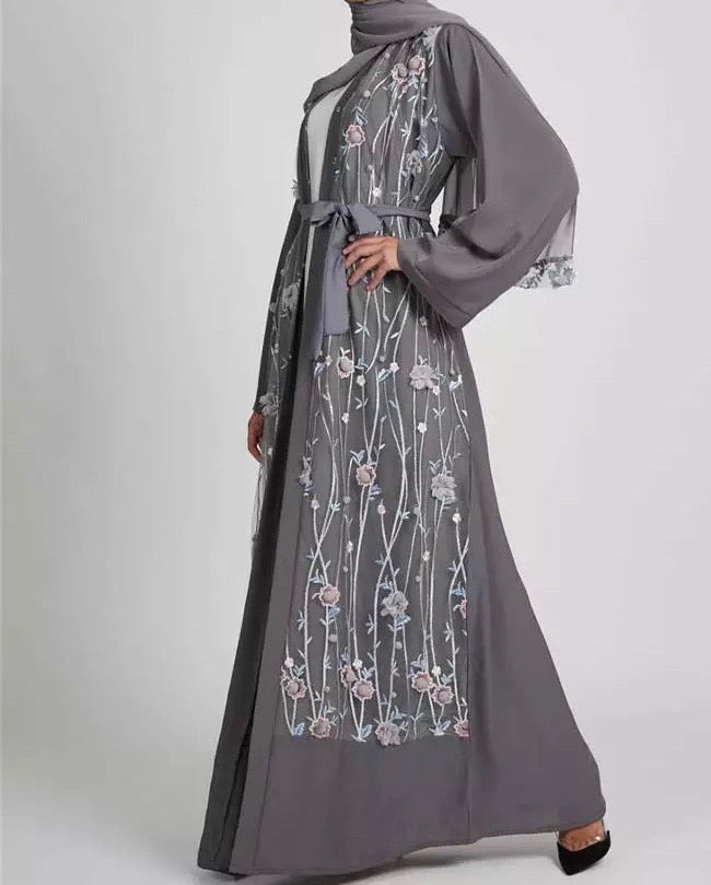 Grey Lace Detail Abaya