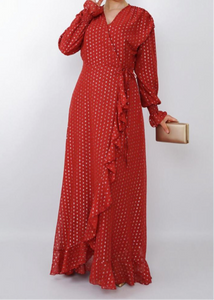 Red faux wrap style dress
