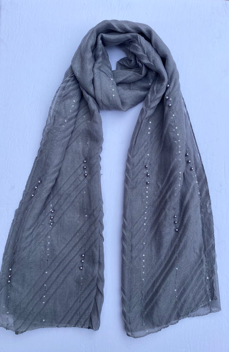 Pewter Grey Pearl Sequin Hijab