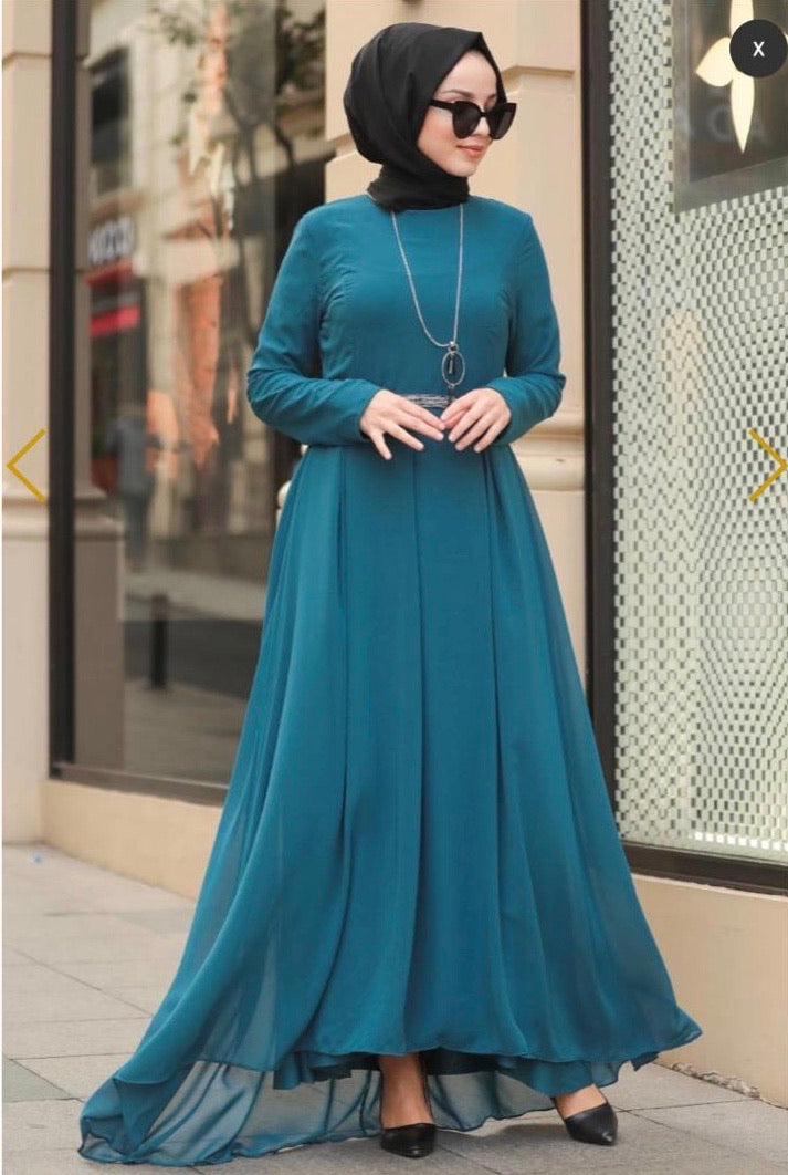 Teal Chiffon Belt Dress