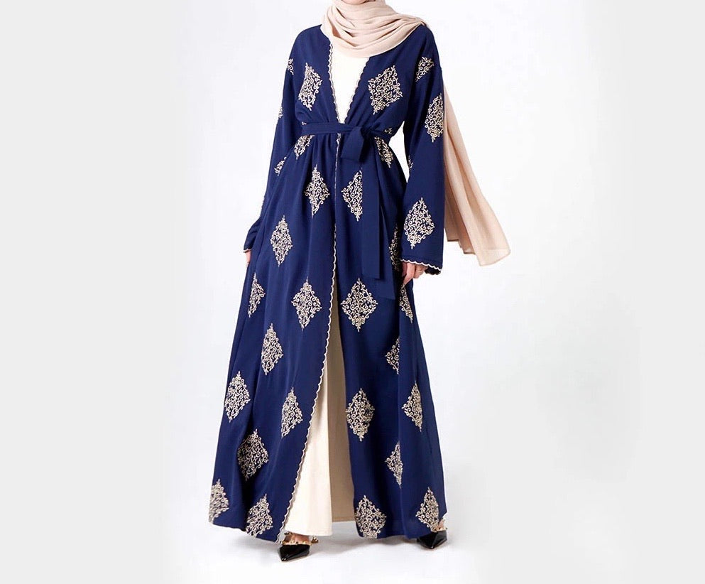 Navy Abaya with Gold Thread work Embroidery
