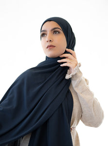Navy Blue Ribbed Jersey Hijab