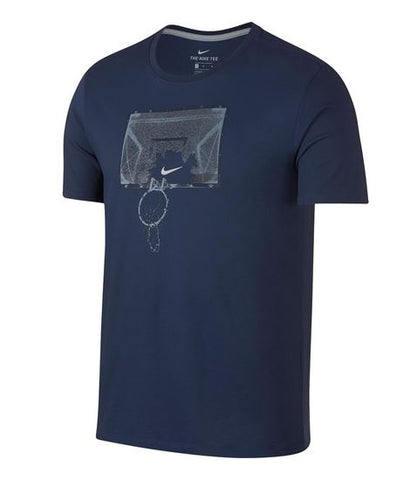 Mens Dry Basketball Shatter T-Shirt - White/Midnight Navy