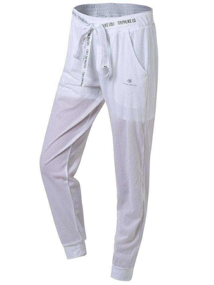 Sloli Breathable Mesh Running Pants Casual Pants XS / White