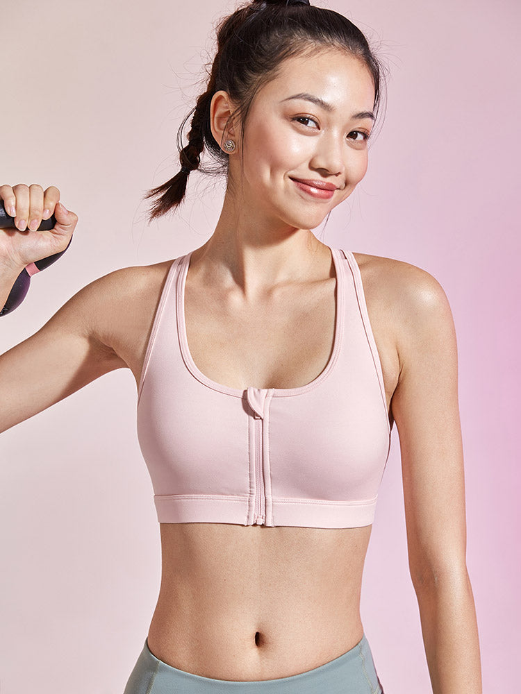 Sloli Front Open Sports Bra Y-shaped Back Medium Support