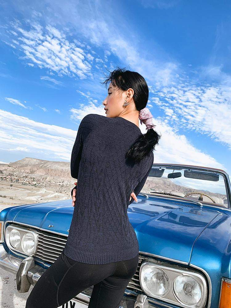 Sloli Round-Neck Knit Long Sleeve Sports Shirt