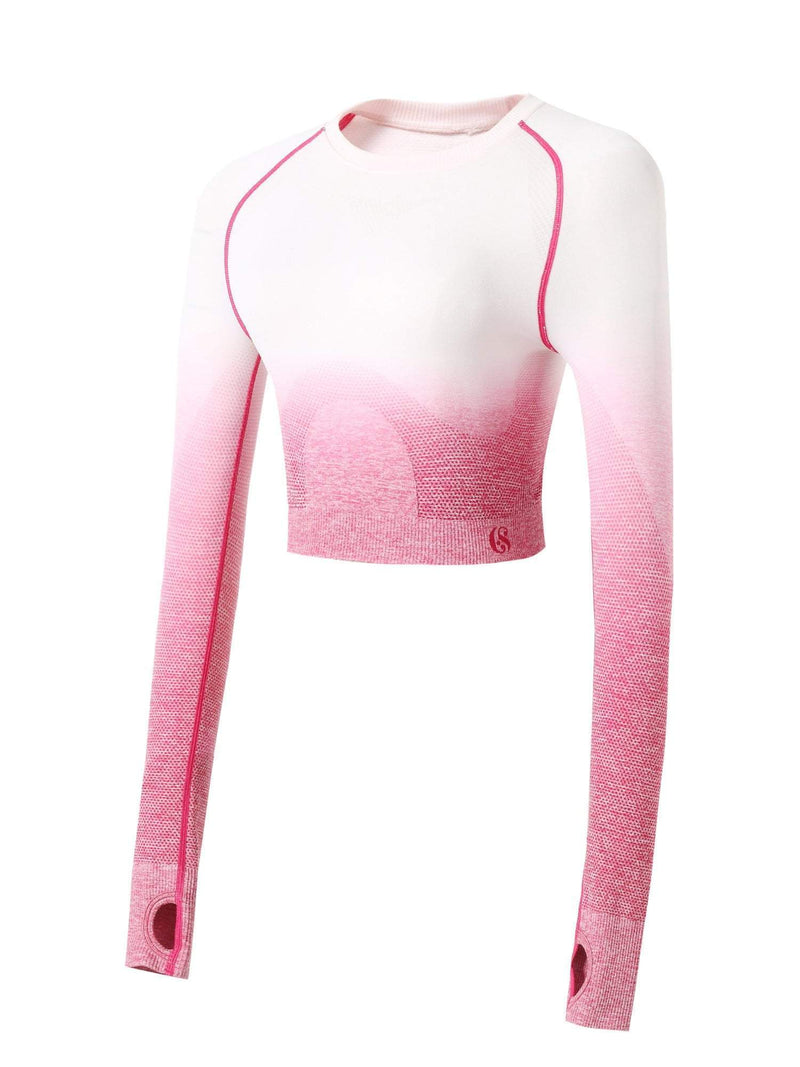 Sloli Gradient Color Scheme Long Sleeve Sports Shirt S / Pink