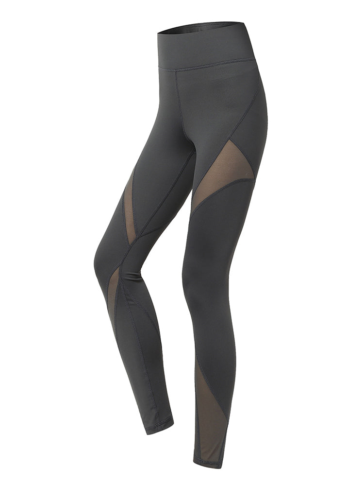 Sloli High Waist Mesh Panel Legging XS / Gray