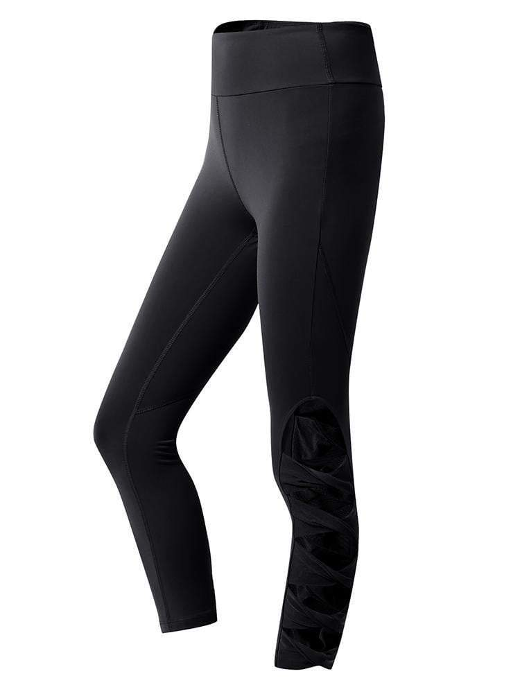 Sloli Capris Sports Leggings with Hollow Design S / Black