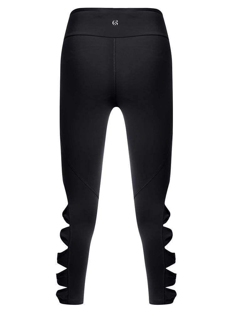 Sloli Capris Sports Leggings with Hollow Design