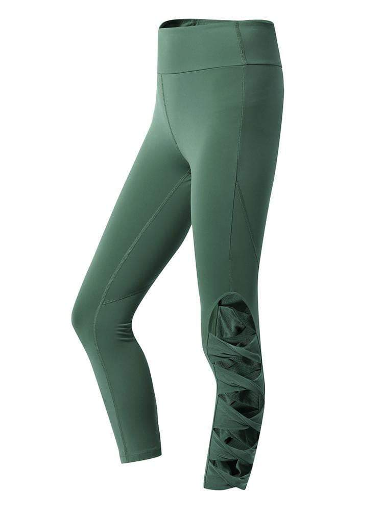Sloli Capris Sports Leggings with Hollow Design S / Green