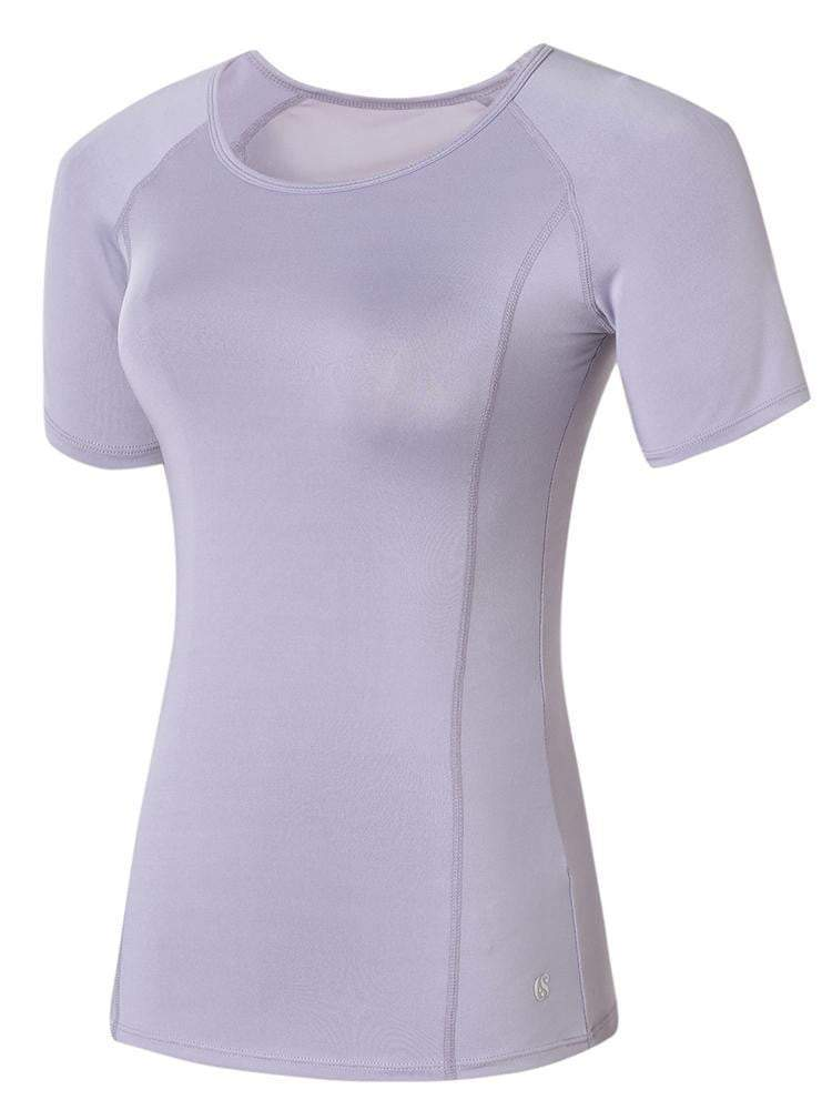 Sloli Breathable Round Neck Mesh Back Sports T-Shirt XS / Purple