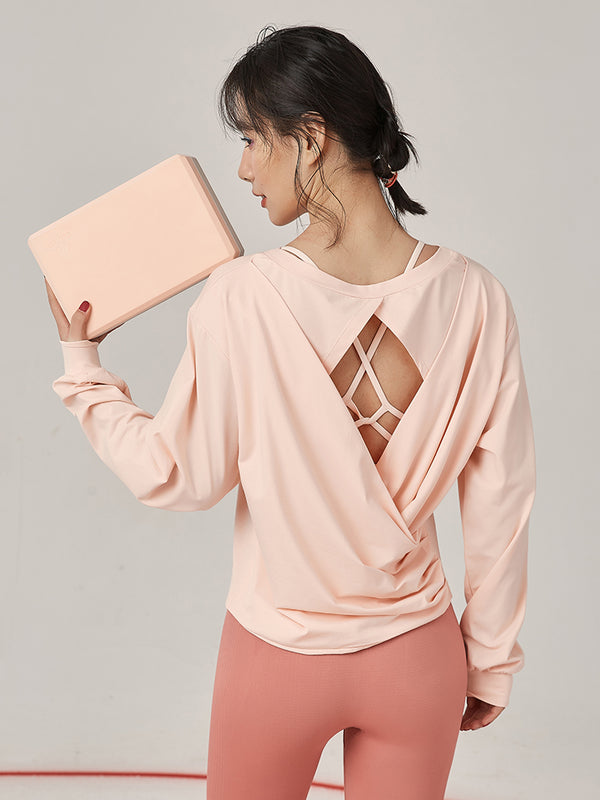 Sloli Long Sleeve Back Open-work Shirt