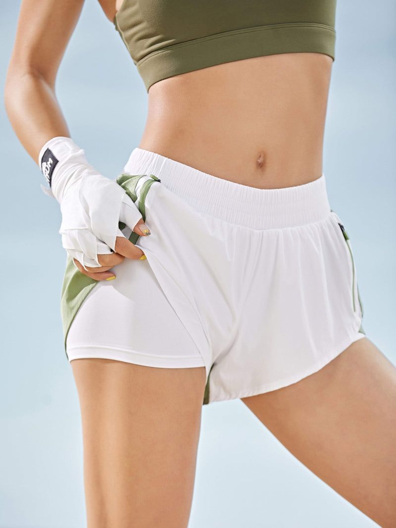 Sloli Color Scheme Sports Shorts with Inner Tights Integrated