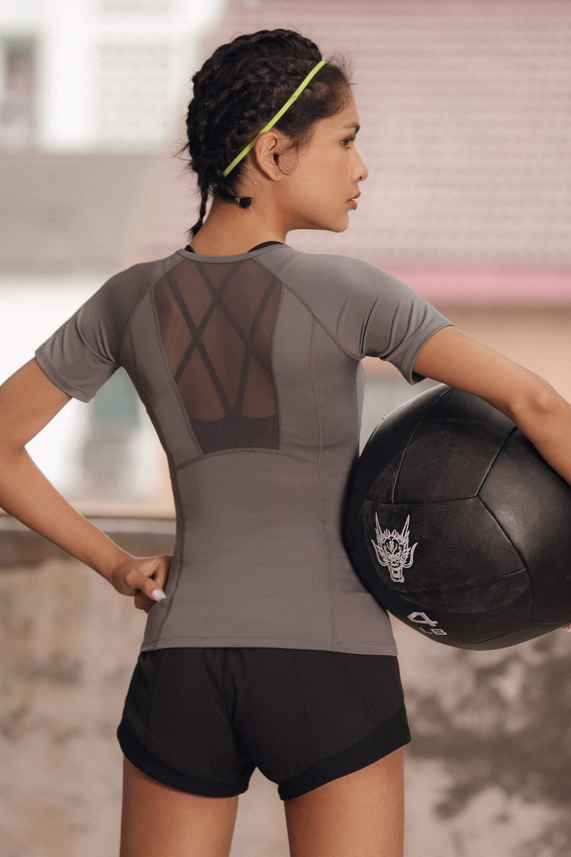 Sloli Breathable Round Neck Mesh Back Sports T-Shirt