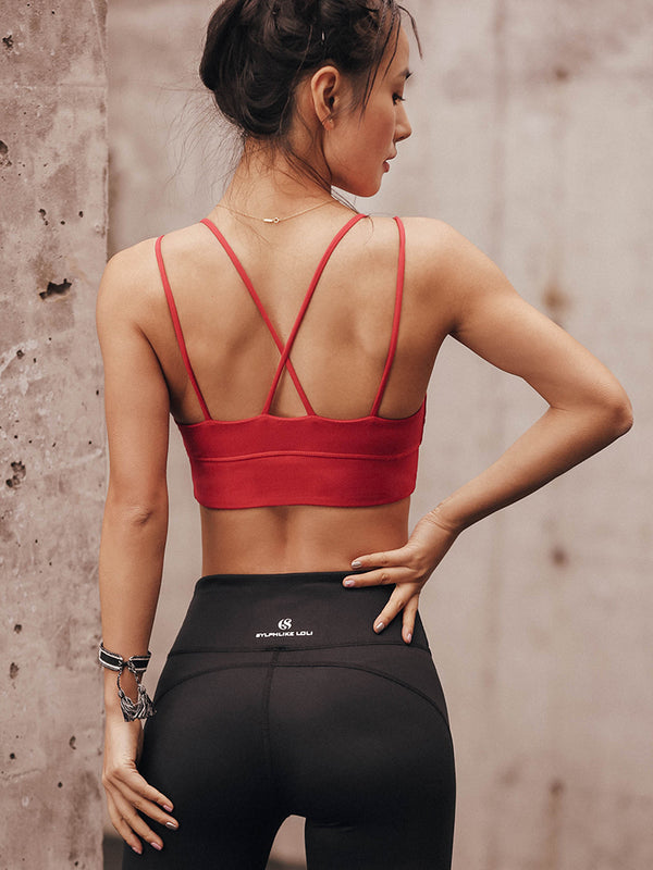 Sloli Narrow shoulder strap Sports bra Beautiful back