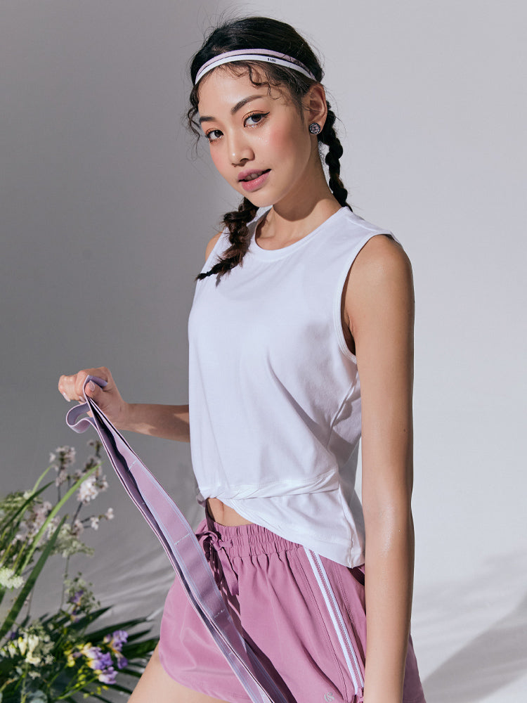 Sloli Twisted Hem Sleeveless Shirt