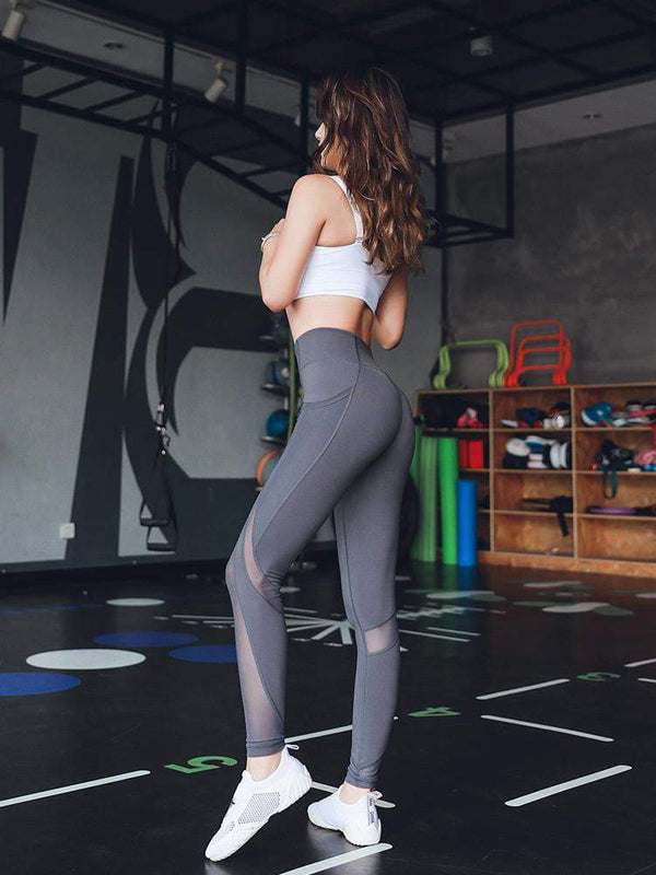Sloli High Elastic Mesh Sports Tights