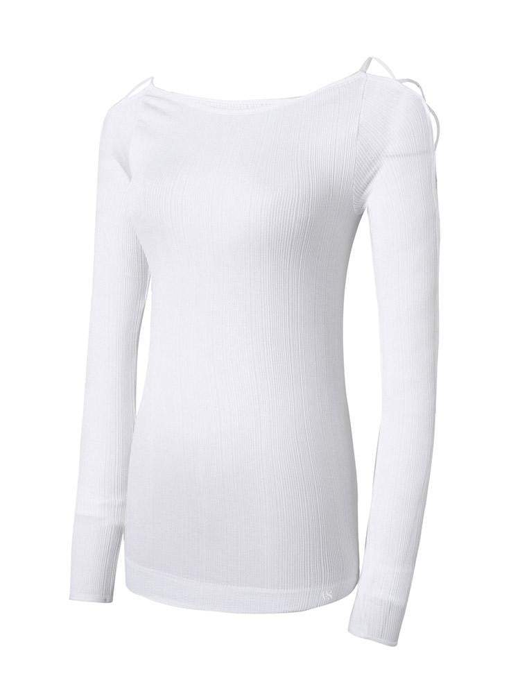 Sloli Sexy Off-Shoulder Sleeve Sports Shirt S / White