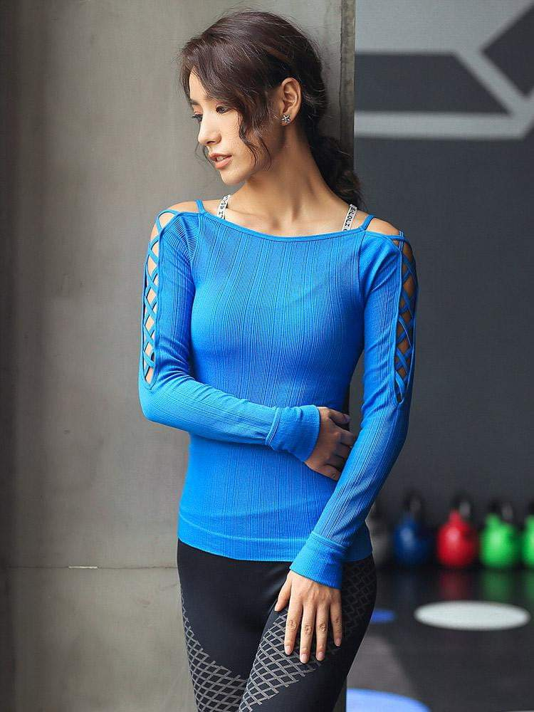 Sloli Sexy Off-Shoulder Sleeve Sports Shirt