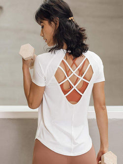 Sloli Fashionable Crossback Strap Backless T-Shirt