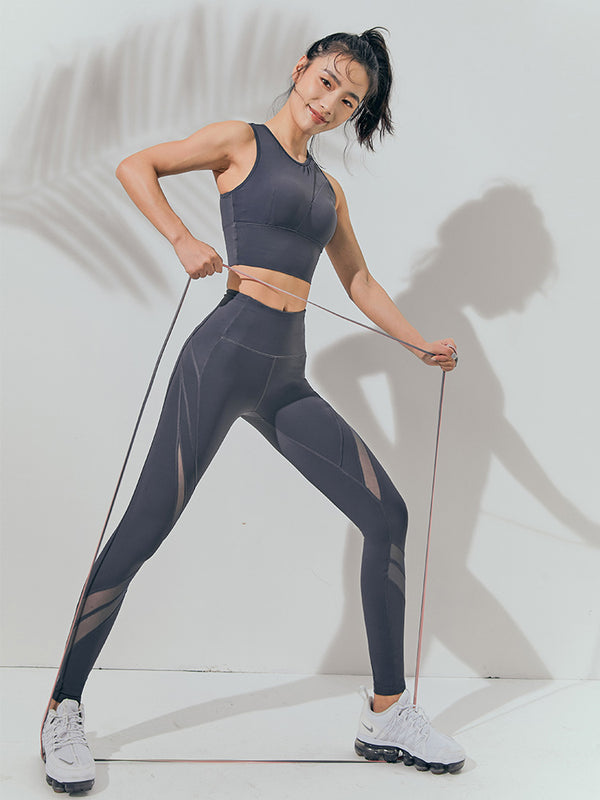 Sloli High Waist Mesh Switching Leggings