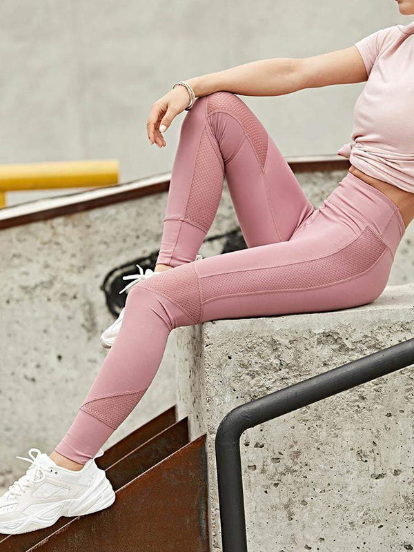 Sloli High Waist Breathable Material Sports Mesh Tight