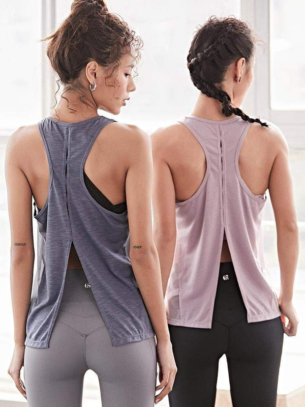 Sloli Backless Style Sports Mesh Tank Top Vest