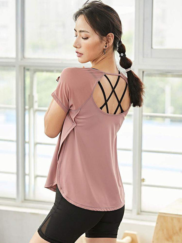 Sloli Casual Back Slit Long Sleeve T-Shirt Tee Top