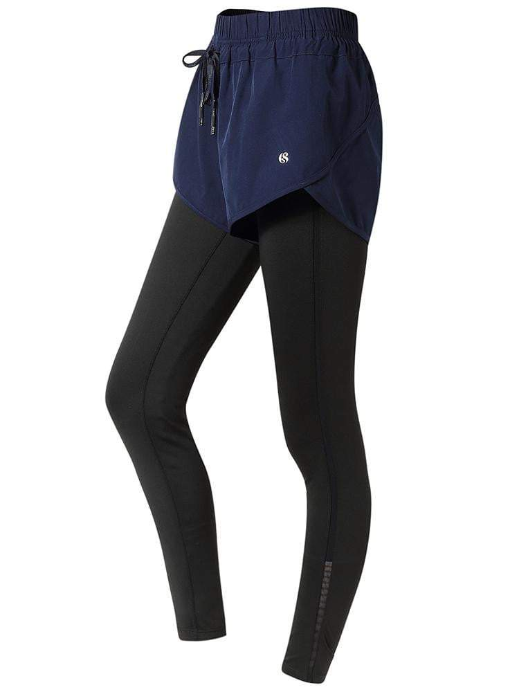 Sloli High Elastic Sports Leggings with Shorts Integrated XS / Navy