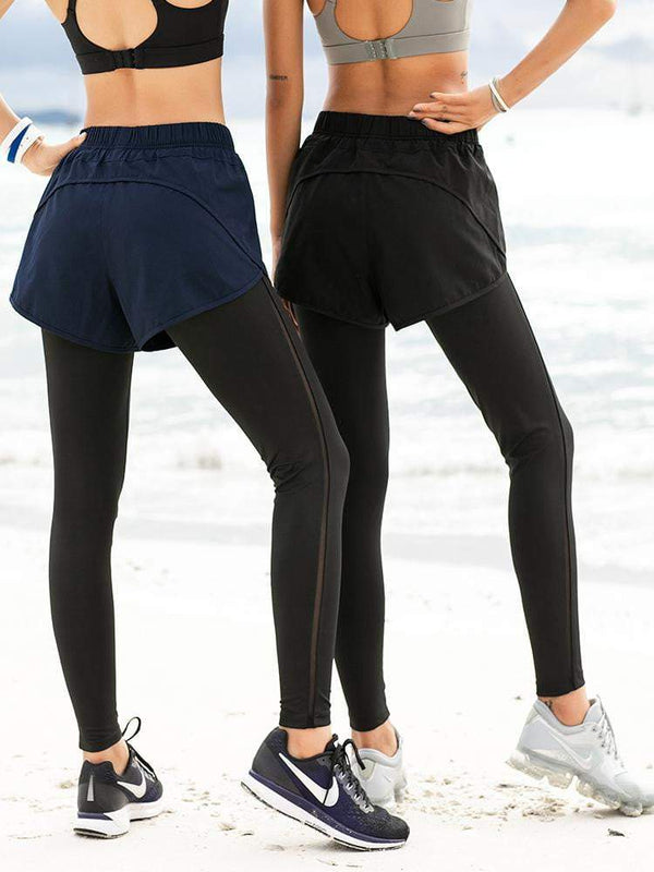 Sloli High Elastic Sports Leggings with Shorts Integrated
