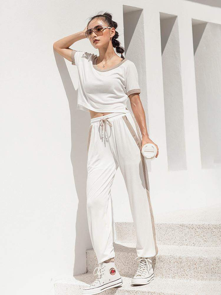 High Waist Tie Sports Pants Women Casual Trousers